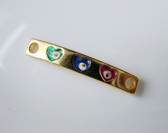 1pc- Gold Plated Bar  connector with three evil eyes-30x5 mm (021-042GP)
