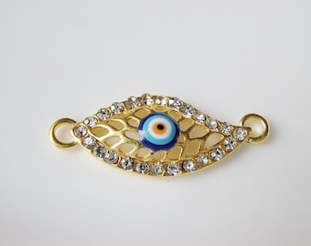 1pc- Matte Gold Plated Crystal Evil Eye Connector-35x15x3mm (012-017GP)
