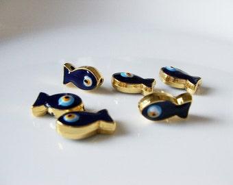 2 pcs- Matte Gold Plated Cobalt Blue Enameled Eye Fish charm, bead, spacer-(025-029GP)
