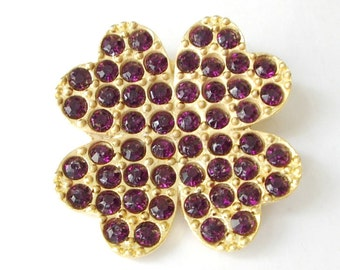 1 pc Matte Gold Plated Authentic Clover with purple swarovski Pendant-40x40mm (001-012GP)