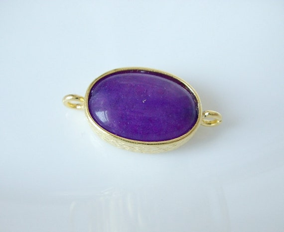 Gold plated with purple jade connector-1