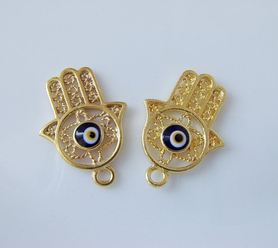 Filigree Gold plated Hand of HAmza with blue evil eye charm-2