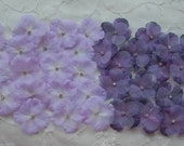 Chic not shabby purple and lavender baby Hydrangea boutique petal flowers with rhinestone centers
