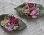 12 Handmade shabby chic boutique satin rosette rose flower applique green leaves baby bow barrette reborn doll
