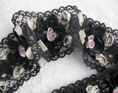 Black Lace Ribbon Flower Trim Vintage Like with Satin Rose Quilt