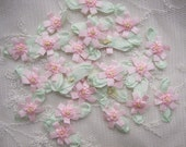 36pc Delicate Pink Handmade Baby Doll french knot ribbon bow flowers