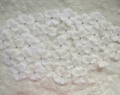 36 PC Rhinestone Beaded Flower Applique Cream Ivory Baby Hydrangea Petals Bridal Christening Bow