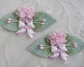 2pc Pink Flower Satin Bow Applique w rhinestone and velvet leaves for Reborn Baby Bonnet Pin Brooch Hair Accessory Baby Bow Headband