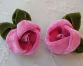Velvet Fabric Flower Applique 2pc Hot Pink Rose w leaf Hat Corsage Pin Baby Bridal Hair Accessory
