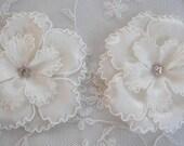 2pc Ivory Satin Organza Ric Rak Flower Applique w rhinestone Baby Bonnet Doll Hat Bridal Christening Corsage