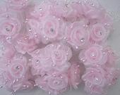 18p Chic pink Organza Ribbon Wired Rose Flower w rhinestone Reborn Doll Bridal Wedding Favor Bow Hair Accessory Applique