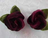 Velvet Fabric Rose Flower 2 pc Burgundy Baby Bow w Leaves Bridal Couture Corsage