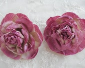 2 pc Dk Mauve Cabbage Rose Fabric Flower Applique Crinkle Victorian Hat Corsage