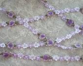 Lavender Rococo Ribbon Trim w Rose Bud Flower Scrapbook Quilt
