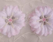 2 pc Lt Pink Jasmine flower applique w rhinestone pearl for Hat Bridal Wedding Corsage Hair clip
