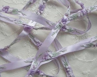 Hand Embroidered Lavender Satin Ribbon Flower Trim Baby Doll Christening Gown