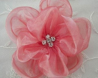 3.5 inch Rhinestone Organza Rose Flower Hat Corsage Hair Accessory Bow