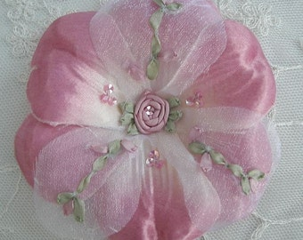 Handmade beaded w sequins silk ribbon embroidered w rose buds Rose Pink Satin Organza Flower Corsage Baby Bow