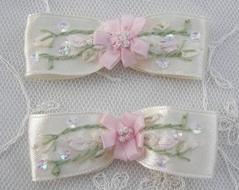 2pc Beaded Satin Fabric Flower Bow Applique w Sequins Cream Ribbon Embroidered w Rose Bud Baby Doll Corsage