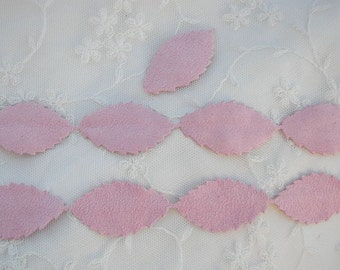Faux Suede Pink leaf trim on a vine ribbon trim great for scrapbooking quilts baby clothing