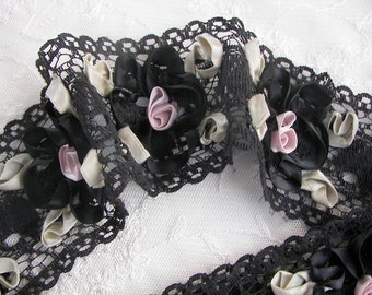 Black Lace Ribbon Flower Trim Vintage Like with Satin Rose Quilt