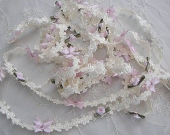 Pink Rose Bud Flower Ivory Woven Ribbon Trim w Rhinestone Satin Bow Scrapbook Baby Quilt