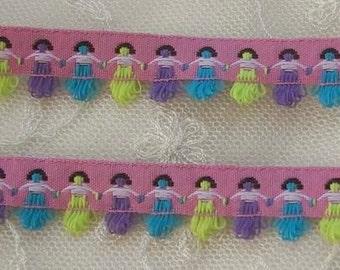 2yd Pink Woven Jacquard ribbon Trim Scrapbook Doll Quilt