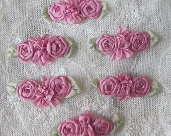 6pc Chic Dusty Rose Pink Ribbon Applique Reborn Baby Doll Hair Bow embellished w rosette spider rose flower stone