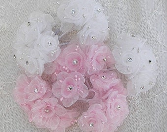 36p Chic pink white Organza Ribbon Wired Rose Flower w rhinestone Reborn Doll Bridal Wedding Favor Bow Hair Accessory Applique