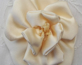3 inch Glass Beaded Yellow Baby Maize Matte Satin Rose Flower Bridal Hat Corsage