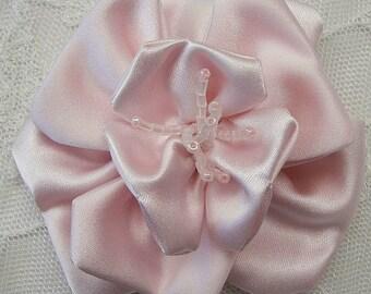 3 inch Glass Beaded Baby Blush Pink Matte Satin Rose Flower Bridal Hat Corsage
