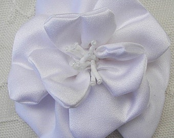 3 inch Glass Beaded Baby WHITE Matte Satin Rose Flower Bridal Hat Corsage