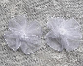 12 pc Baby Doll White Organza Ribbon Pansy Bridal Christening Flower