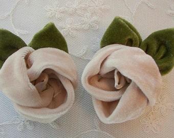 2pc Tan Velvet Fabric Rose Flower Applique Hat Bridal Corsage