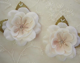 2 pc CREAM shaded w BLUSH Fabric Flower Beaded Applique w leaf rhinestone glass bead Corsage Hair Accessory
