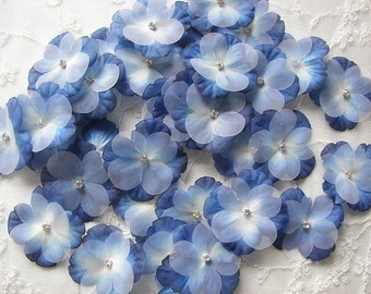 36 pc Rhinestone Beaded Flower Applique Royal Blue Shaded Baby Hydrangea Petals Bridal Emgellishment Bow