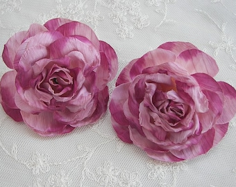2pc Dusty Rose Cabbage Rose Fabric Flower Applique Crinkle Victorian Hat Bridal Bouquet Corsage