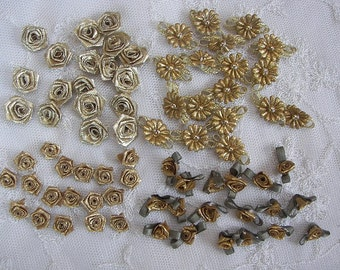 72pc Gold Lame Fabric Flower Applique Christmas Baby Doll Dress Bow Rose Rosette