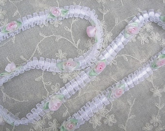 White Organza Ruffled Ribbon Flower Trim Pink Rose Bud Baby Doll Quilt