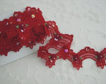 Red beaded flower lace embroidered organza doll bridal embellished with pearls sequins flowers