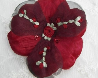 Beaded Fabric Ribbon Flower Applique w Sequins Embroidered w Rose Buds Satin Organza Red Black Corsage Pin Brooch Hair Accessory Baby Bow