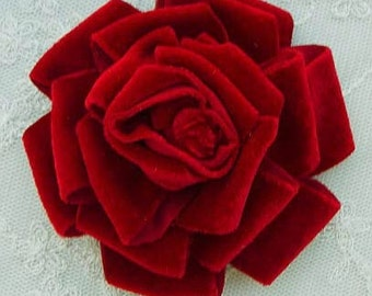 3.5 inch Velvet Ribbon Rose Fabric Flower Red Hat Christmas Corsage Pin Baby Pageant Bridal Hair Accessory Applique