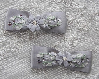2pc Beaded w Sequins Silk Ribbon Embroidered w Rose Bud Flowers Silver Gray Satin Baby Doll Bow