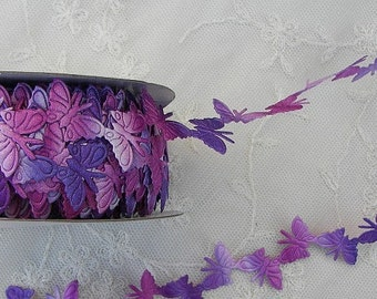 3yds Purple Lavender Pink Ombre Butterfly Trim on a Vine Scrapbooking Card Making Bridal