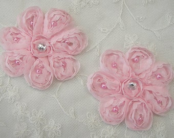 2 pc 3 inch Ribbon Rose Baby Pink Flower Sewing Bridal Applique Floral Beaded w Pearl Stone