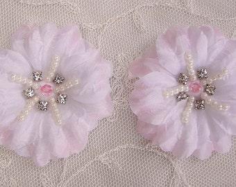 2 pc Lt Pink Jasmine flower applique w rhinestone pearl for Hat Bridal Wedding Corsage Hair clip