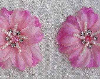 2 pc Rose Pink Jasmine flower applique w rhinestone pearl for Hat Bridal Wedding Corsage Hair clip