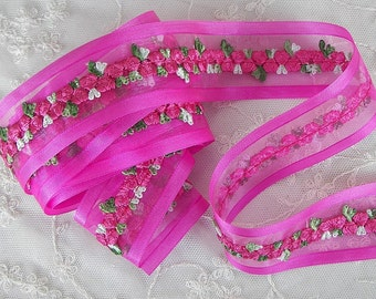 ORIGINAL DESIGN Fuchsia Pink Organza Satin Embroidered Rose Bud Ribbon Trim Scrapbook Hair Bow Sewing Couture