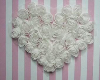 White Floral Heart Applique Handmade Ribbon Rose Bud Flower Valentine yoke