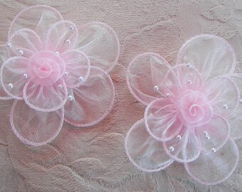 2 PC Pink Organza Flower Applique Pearl Bead Hat Bridal Corsage Pin Brooch Barrette Headband Hair Accessory
